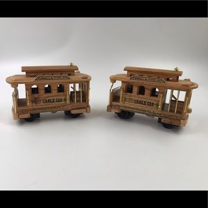 2 Wooden Powell & Hyde Cable Car Music Box